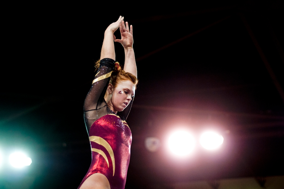 Sophomore all-around Kylie Fagan concentrates before performing on the beam Friday during their meet against University of New Hampshire at McGuirk Arena. Fagan scored a 9.750.
